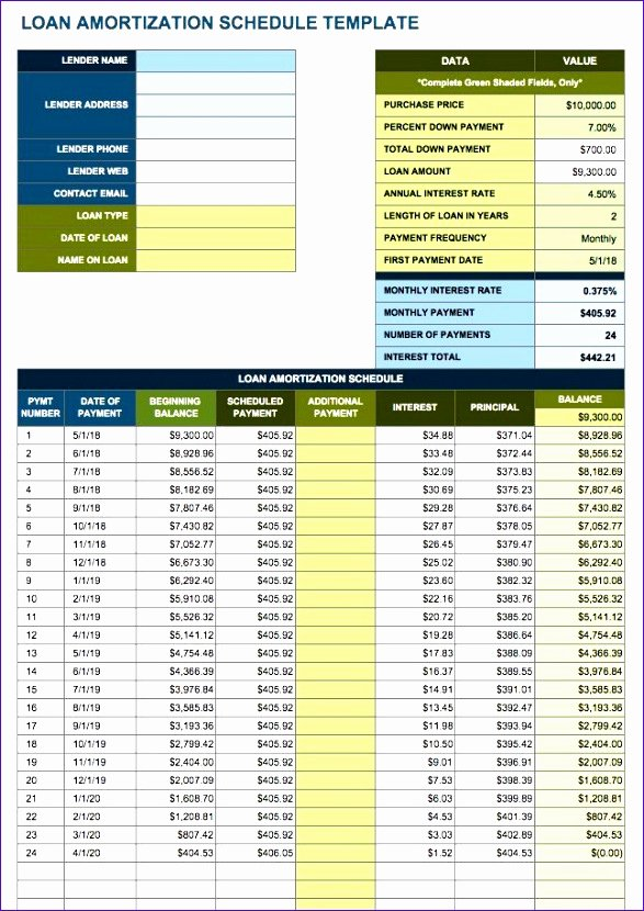 Payment Plan Template Excel Fresh 10 Amortization Table Excel Template Exceltemplates