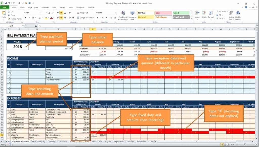 Payment Plan Template Excel Fresh Bill Payment Calendar