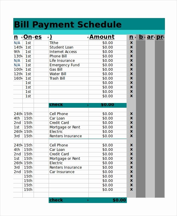 Payment Plan Template Excel Lovely Excel Schedule Template 11 Free Pdf Word Download