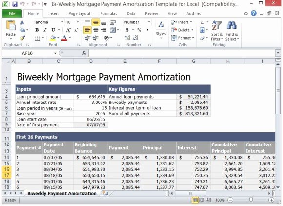 Payment Plan Template Excel Luxury Bi Weekly Mortgage Payment Amortization Template for Excel