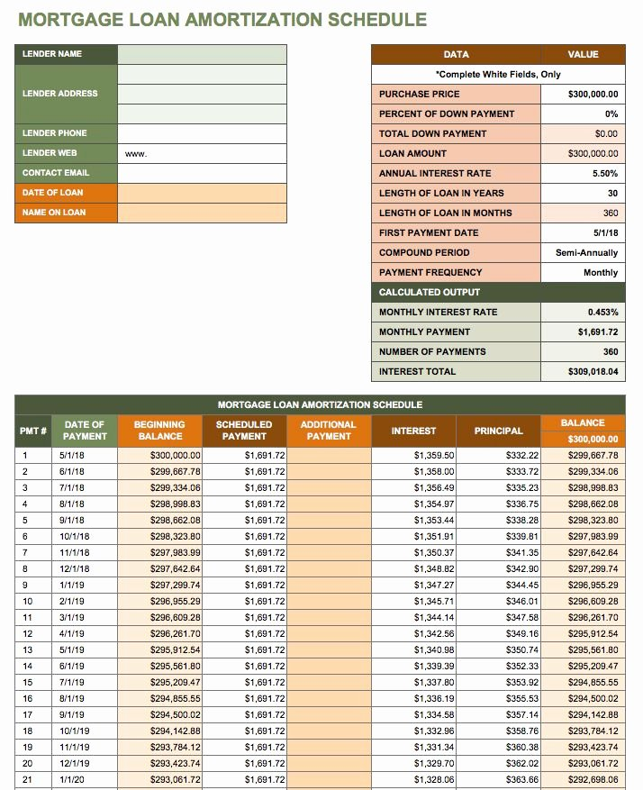 Payment Plan Template Excel Luxury Free Excel Amortization Schedule Templates Smartsheet