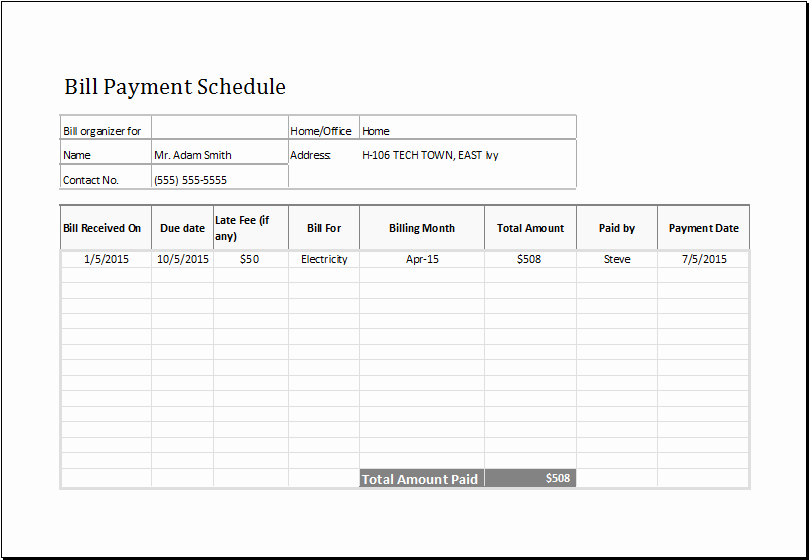 Payment Plan Template Excel Unique Bill Payment Schedule Ms Excel Editable Template