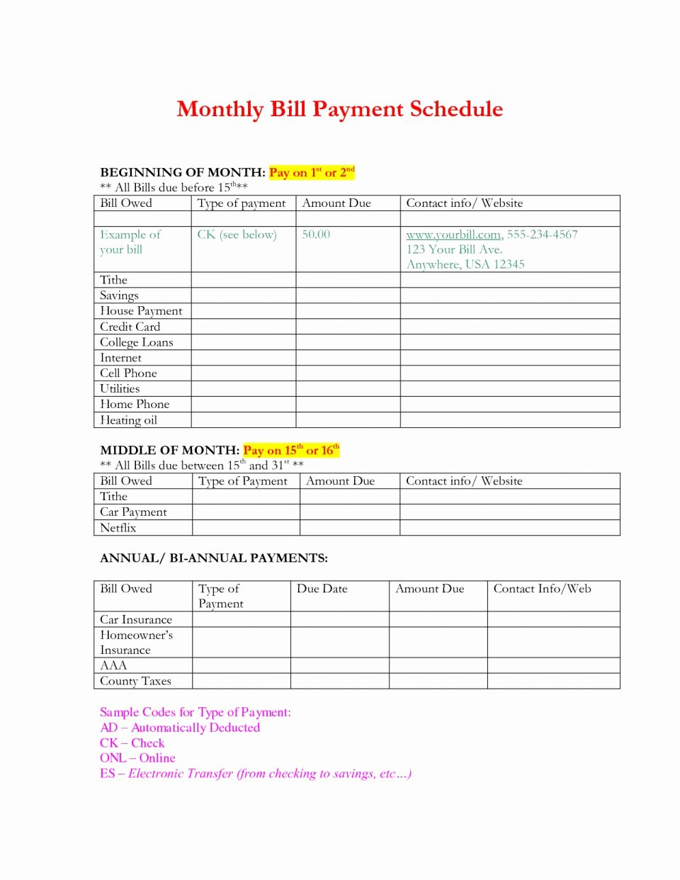 Payment Plan Template Excel Unique Free Monthly Bill Planner Template Payrollle Payment Excel