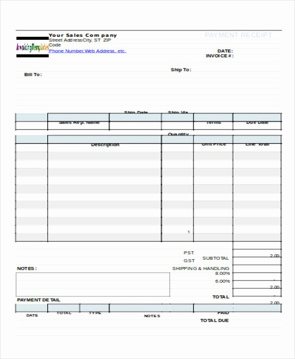 Payment Receipt format Doc Inspirational 7 Sample Payment Receipt forms Free Sample Example