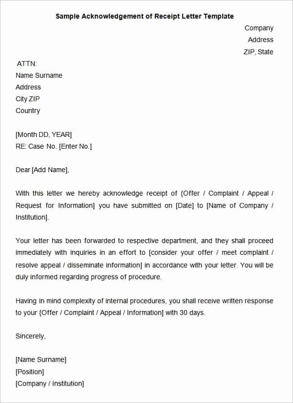 Payment Receipt Letter Sample Best Of 38 Acknowledgement Letter Templates Pdf Doc