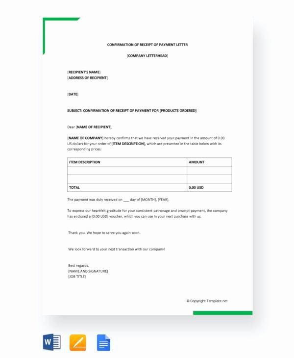 Payment Receipt Letter Sample Elegant 10 Receipt Of Payment Letters Pdf Doc Apple Pages