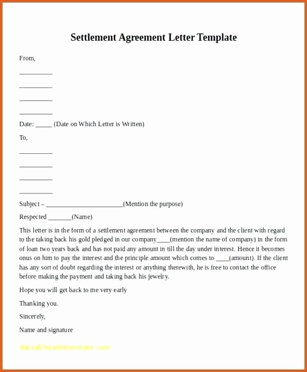 Payment Settlement Letter format Elegant 30 Car Accident Settlement Letter Template