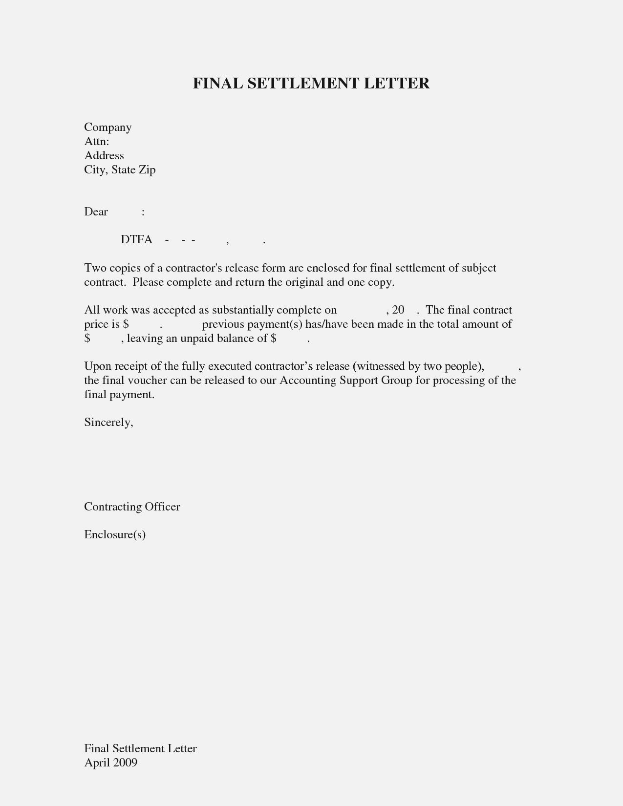 Payment Settlement Letter format Inspirational Sample Full and Final Settlement Letter format Employee to