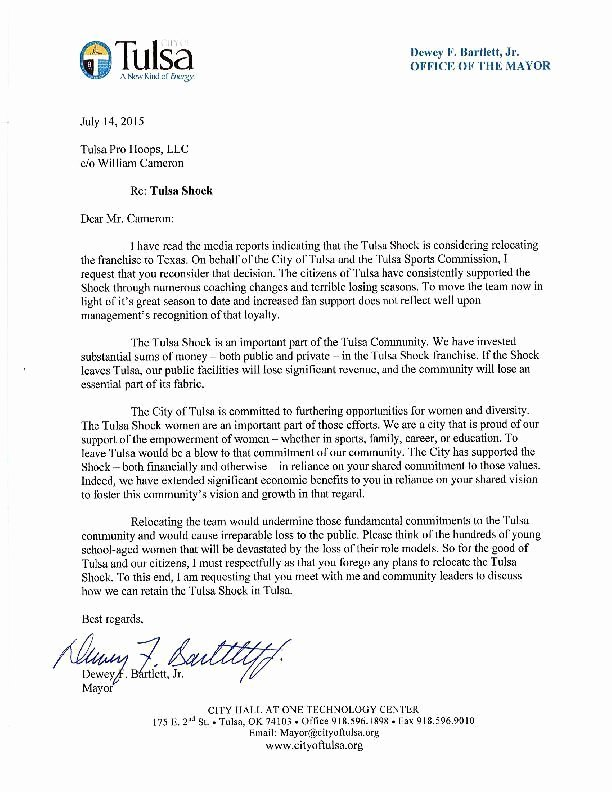 Payment Shock Letter Best Of Letter From Mayor Dewey Bartlett to Tulsa Shock Ownership