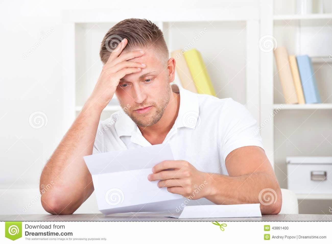 Payment Shock Letter Inspirational Businessman Reacting In Shock to A Letter Stock