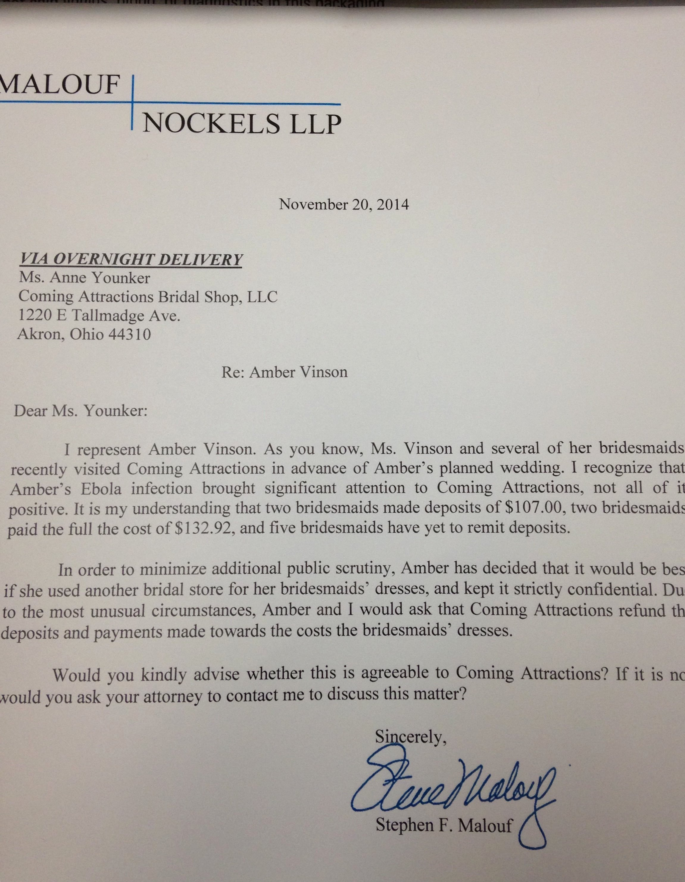 Payment Shock Letter Luxury Bridal Shop Owner On Amber Vinson's Refund Request 'it is