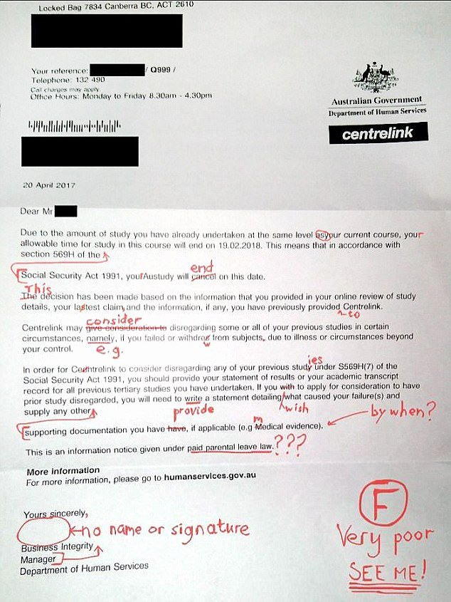 Payment Shock Letter Unique Centrelink Wrote Letter to Student Riddled with Errors
