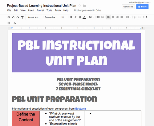 Pbl Lesson Plan Template Fresh Planning to Create A Pbl Instructional Unit Try Using