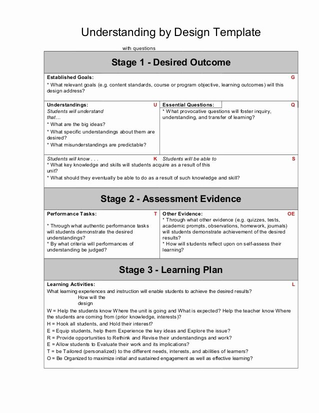 Pbl Lesson Plan Template Inspirational Ubd Template with Guiding Questions