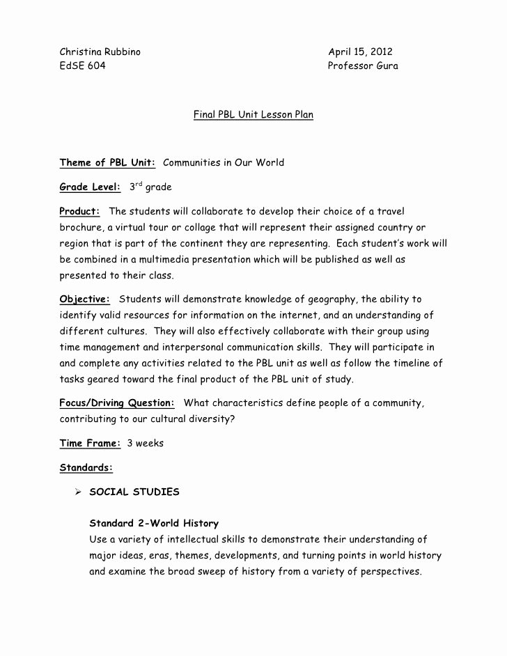 Pbl Lesson Plan Template Unique Problem Based Learning Lesson Plans Math Awesome