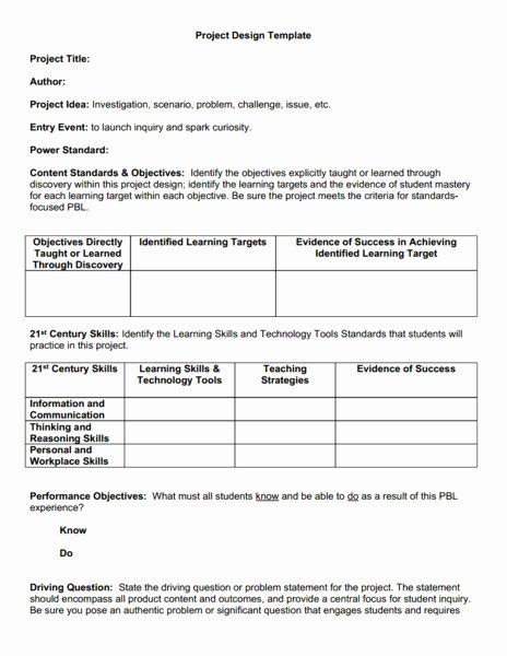 Pbl Lesson Plan Template Unique Project Based Learning Template Printables & Template for