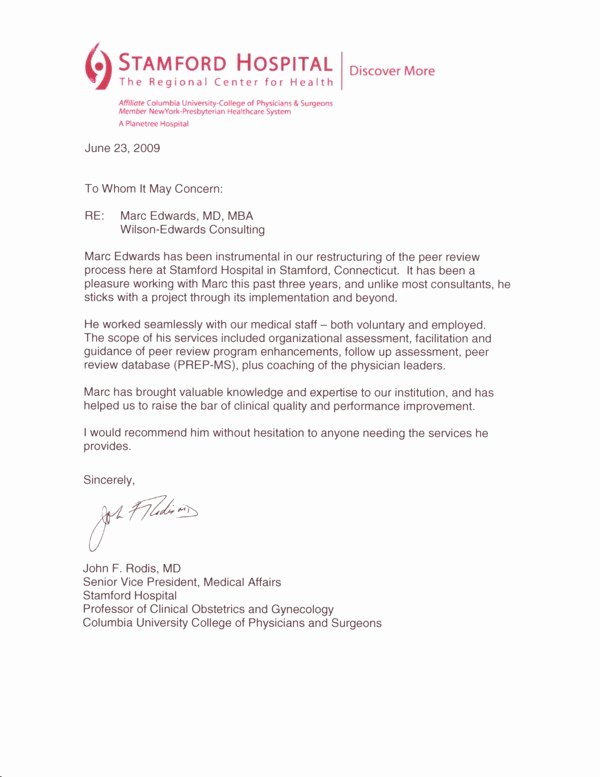 Peer Letter Of Recommendation Beautiful Testimonial Letter Dr Rodis