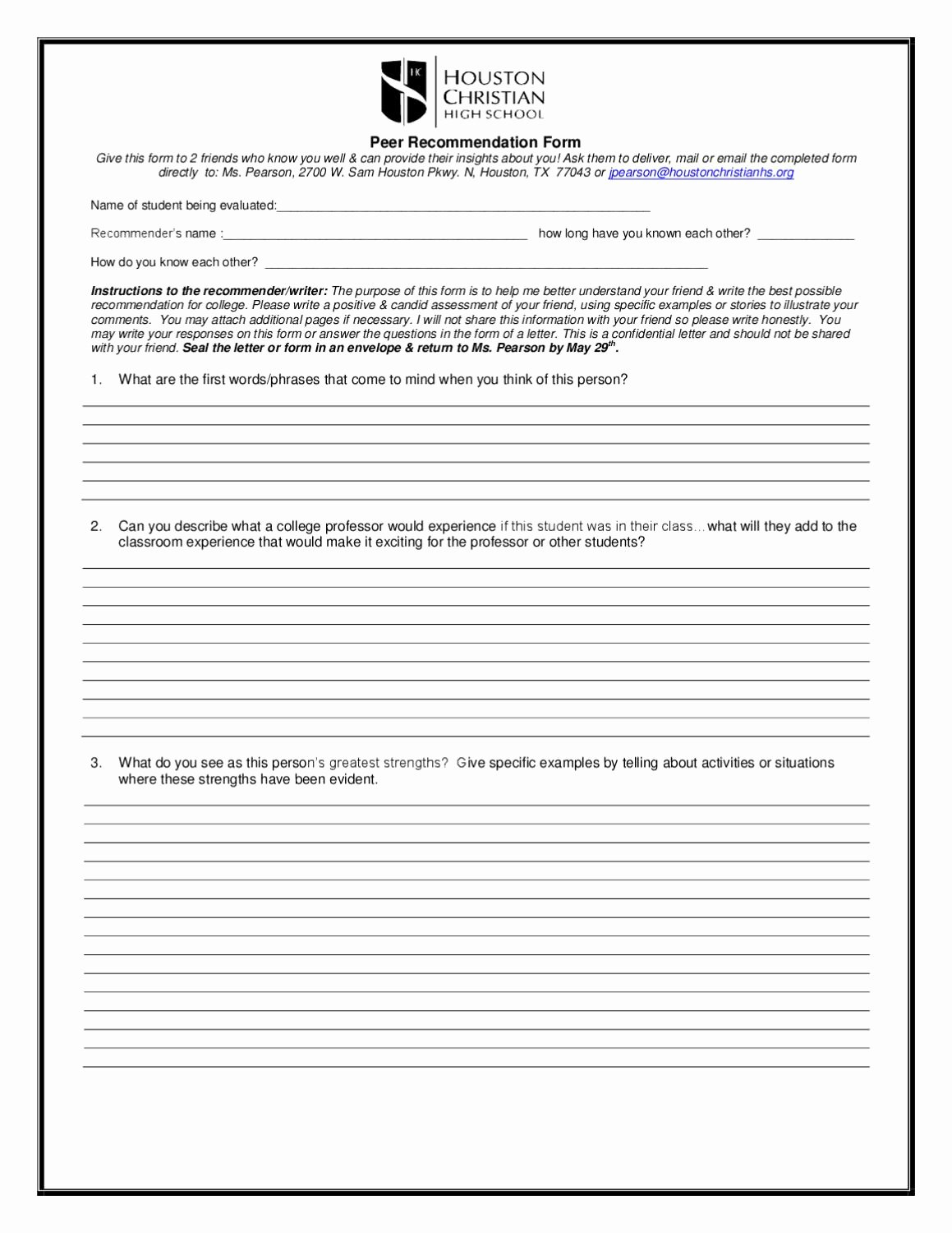 Peer Letter Of Recommendation Fresh Peer Re Mendation form by Hc Munications issuu