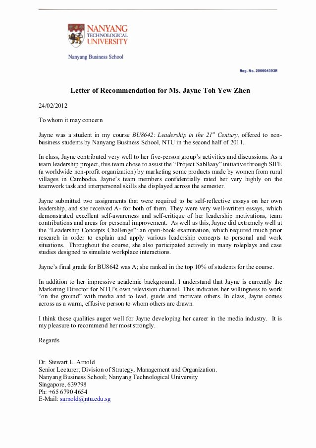 Peer Recommendation Letter Example Inspirational Letter Of Re Mendation for Jayne toh