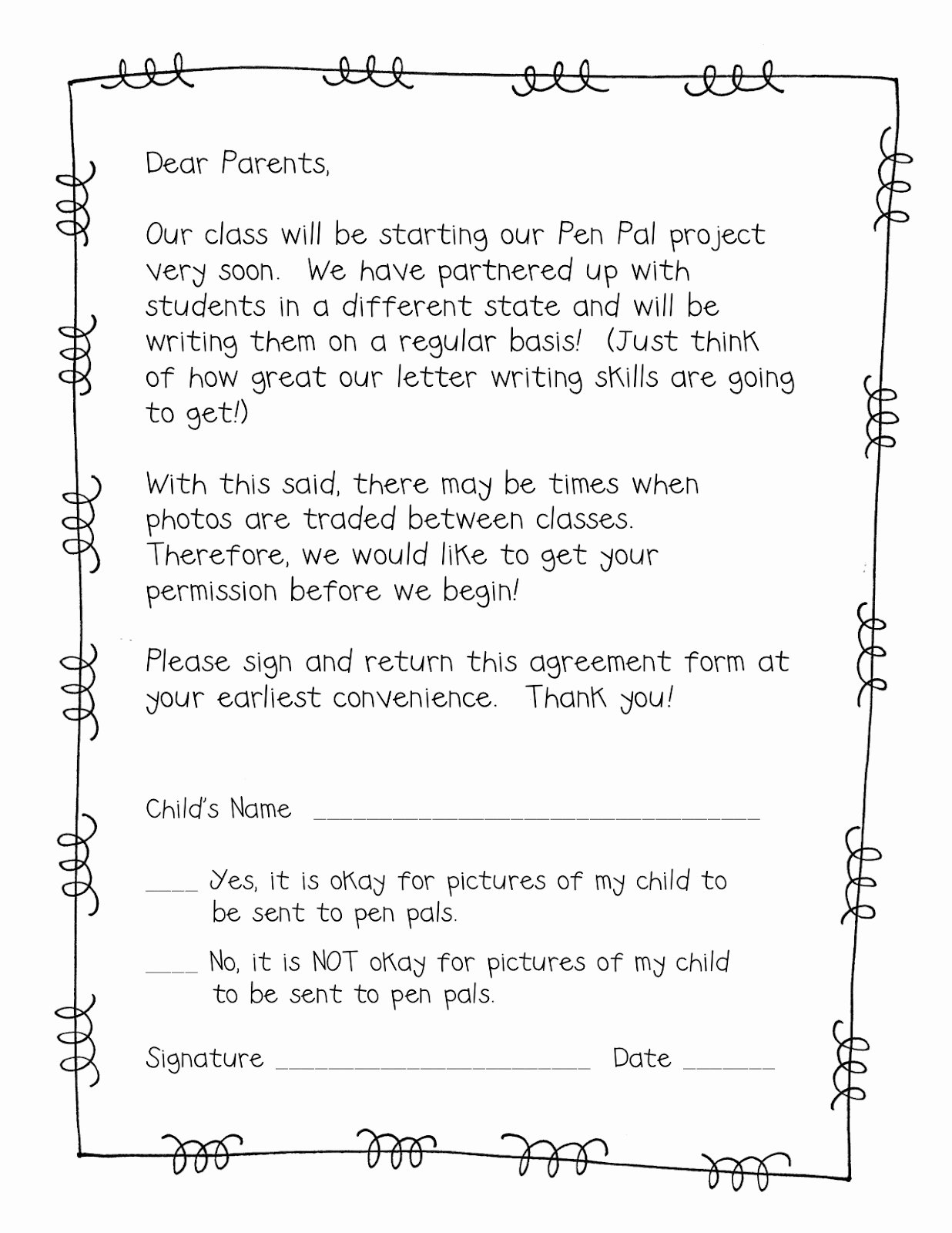 Pen Pal Letter format Beautiful Supplies Supplies Letter to Parents