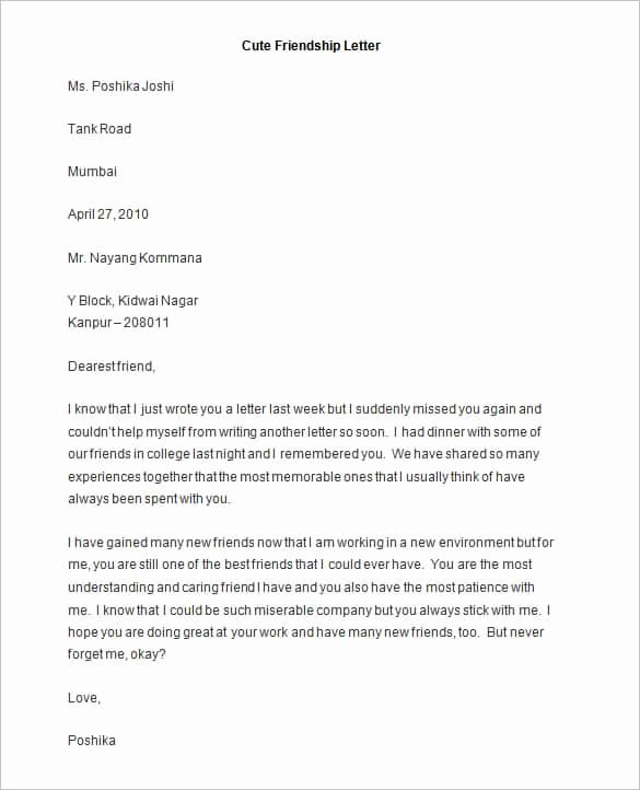 Pen Pal Letter format New 49 Friendly Letter Templates Pdf Doc