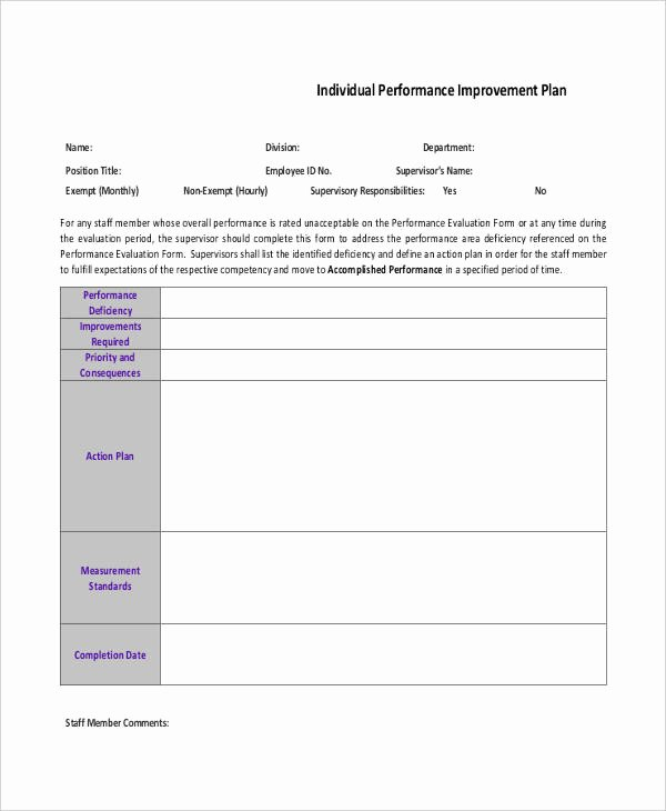 Performance Action Plan Template Lovely 10 Performance Action Plan Templates Free Sample
