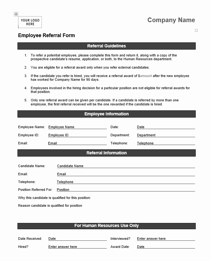Performance Based Bonus Plan Template Fresh Employee Referral form