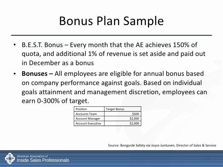 Performance Based Bonus Plan Template Lovely Inside Sales Pensation & Incentives Best Practices