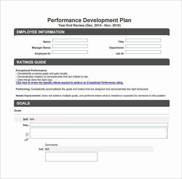 Performance Development Plan Template Fresh Development Plan Template – 11 Free Word Pdf Documents