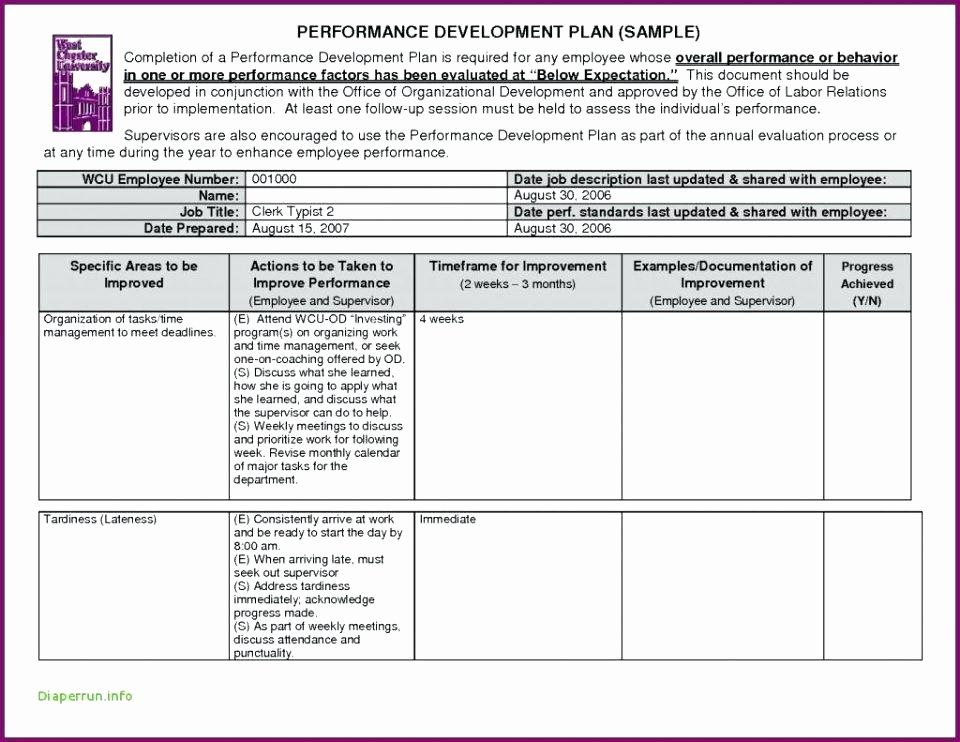 Performance Improvement Plan Template Excel Lovely Employee Improvement Plan Template Beautiful Performance