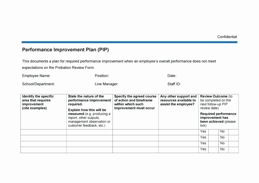 Performance Improvement Plan Template Excel Luxury Performance Improvement Plan