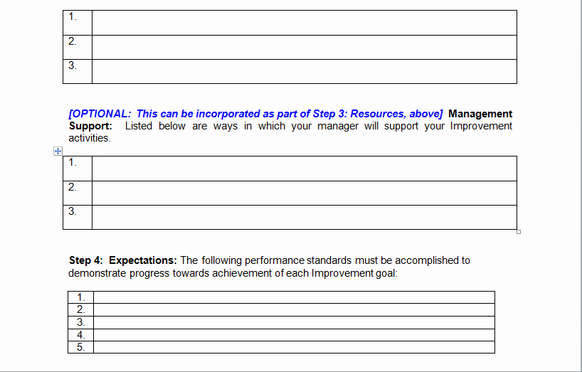 Performance Improvement Plan Template Excel New Performance Improvement Plan Sample Template Excel Tmp
