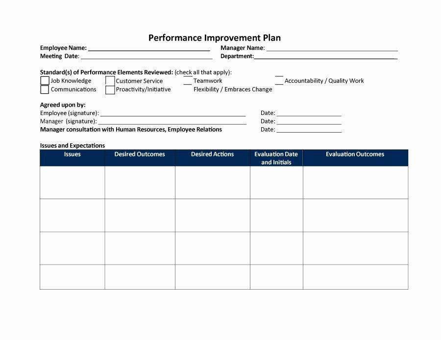 Performance Improvement Plan Template Inspirational 40 Performance Improvement Plan Templates & Examples