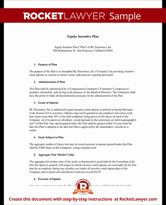 Performance Incentive Plan Template New Equity Incentive Plan for S & Stocks Template
