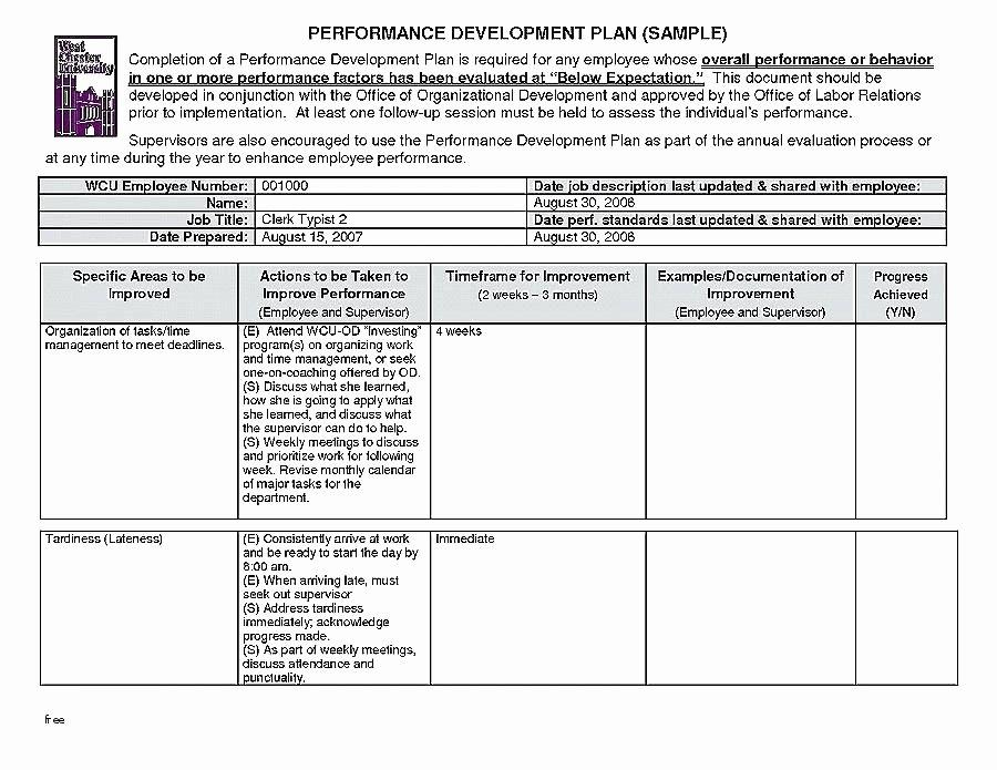 Performance Management Plan Template Luxury 40 Performance Improvement Plan Template Virtual