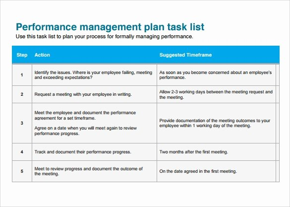 Performance Management Plan Template Luxury Task List Templates 12 Download Documents In Pdf Word