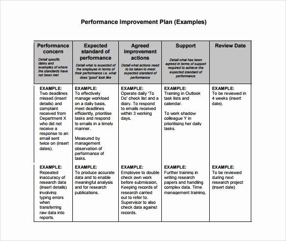 Performance Management Plan Template New Performance Improvement Plan Template 14 Download