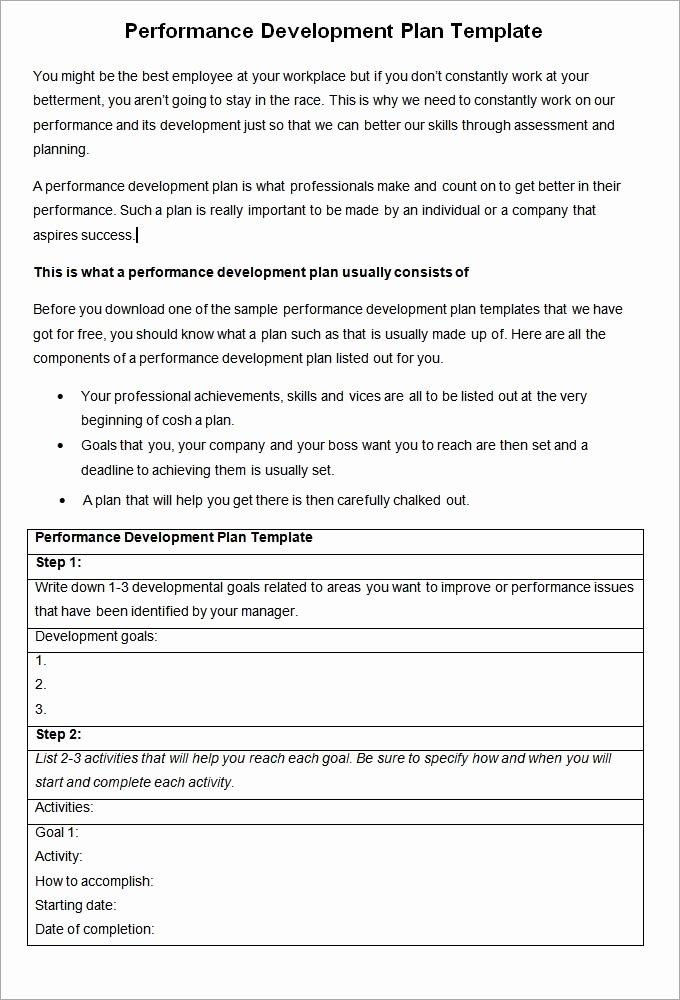 Performance Management Plan Template Unique Performance Development Plan Template Development Plan