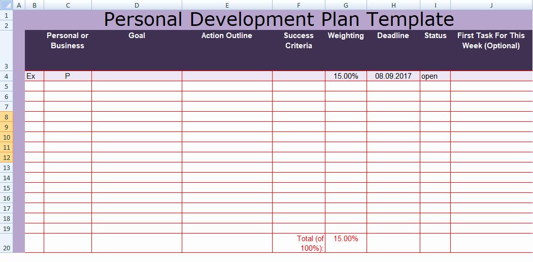 Personal Development Plan Template Inspirational Get Personal Development Plan Template Excel