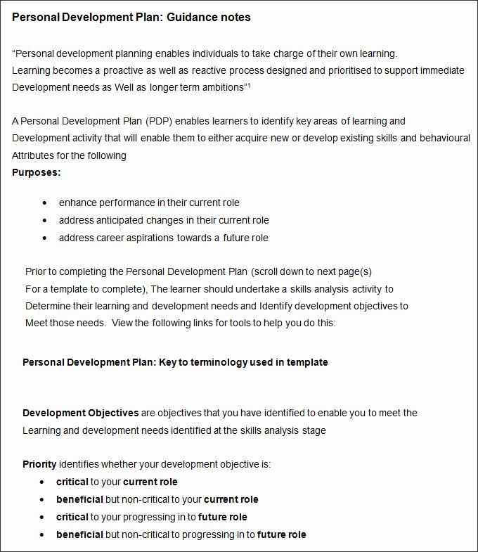 Personal Development Plan Template Inspirational Sample Personal Development Plan Template 10 Free
