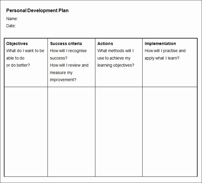 Personal Development Plan Template Word Luxury Sample Personal Development Plan Template 10 Free