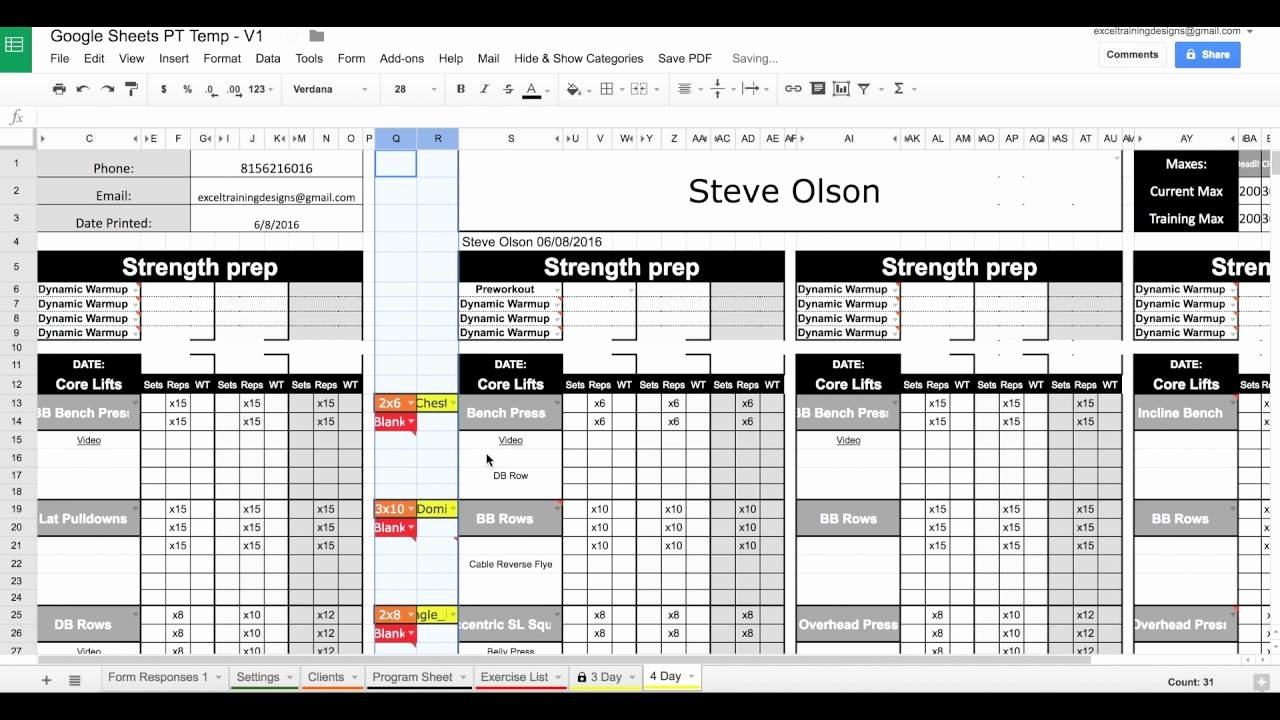Personal Fitness Plan Template Beautiful Google Sheets Personal Training Templates Exercise