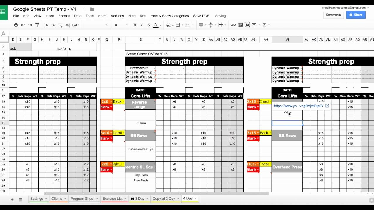 Personal Fitness Plan Template Beautiful Setting Up Your Google Sheets Personal Training Template