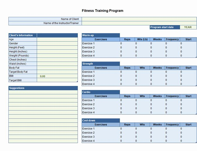 Personal Fitness Plan Template Fresh Exercise Planner