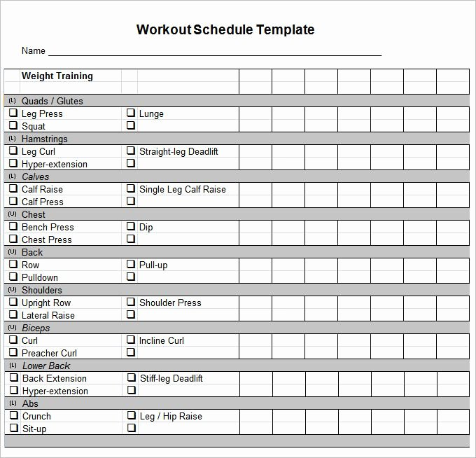 Personal Fitness Plan Template Fresh Workout Schedule Template 10 Free Word Excel Pdf