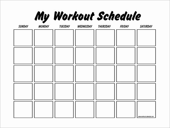 Personal Fitness Plan Template Fresh Workout Schedule Template 6 Free Sample Example format