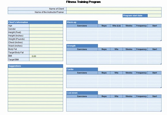 Personal Fitness Plan Template Inspirational Workout Chart for Excel