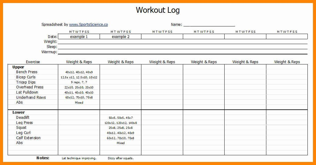 Personal Fitness Plan Template Inspirational Workouts Log Templates Printable In Pdf Excel Template