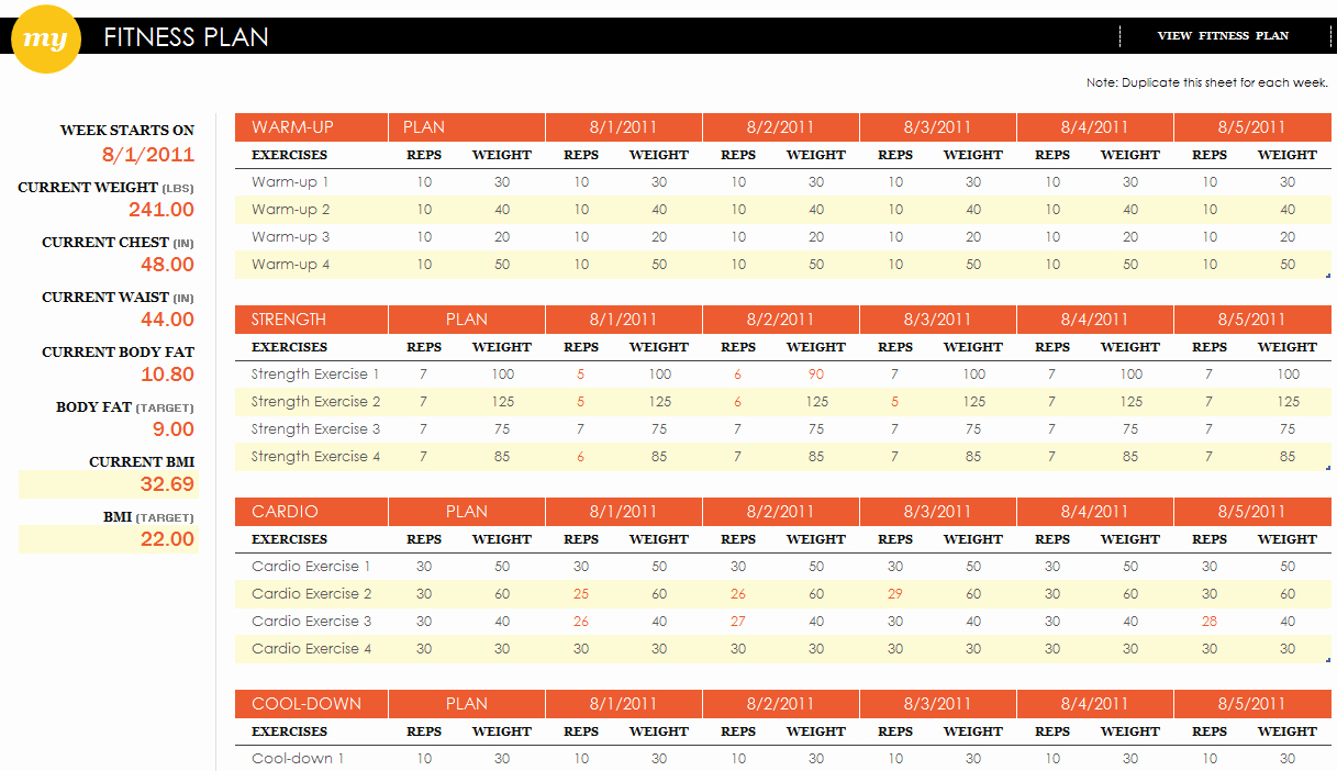 Personal Fitness Plan Template New Fitness Plan Excel Template