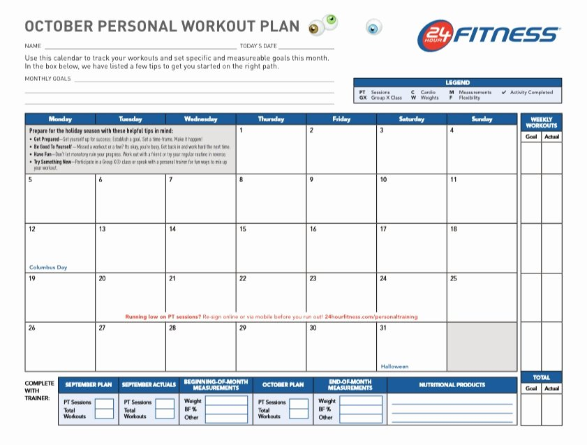 Personal Fitness Plan Template New Professional Workout Template format Excel Word and Pdf